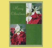 Mixed color Poinsettias 3 Merry Christmas Q5F1 One Piece - Short Sleeve