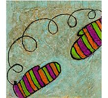 The Striped Mittens Photographic Print