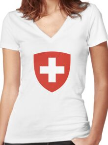 Coat of Arms of Switzerland  Women's Fitted V-Neck T-Shirt