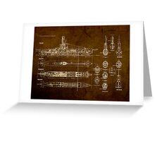 Submarine Blueprint Greeting Card