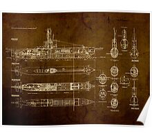 Submarine Blueprint Poster