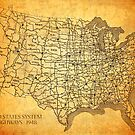 Old American Highway Map on Worn Canvas by designturnpike