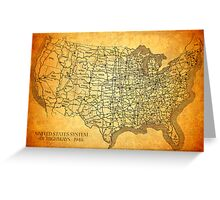 Old American Highway Map on Worn Canvas Greeting Card