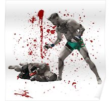 Conor McGregor 13 Second Knock Out of Jose Aldo (blood splatter) Poster