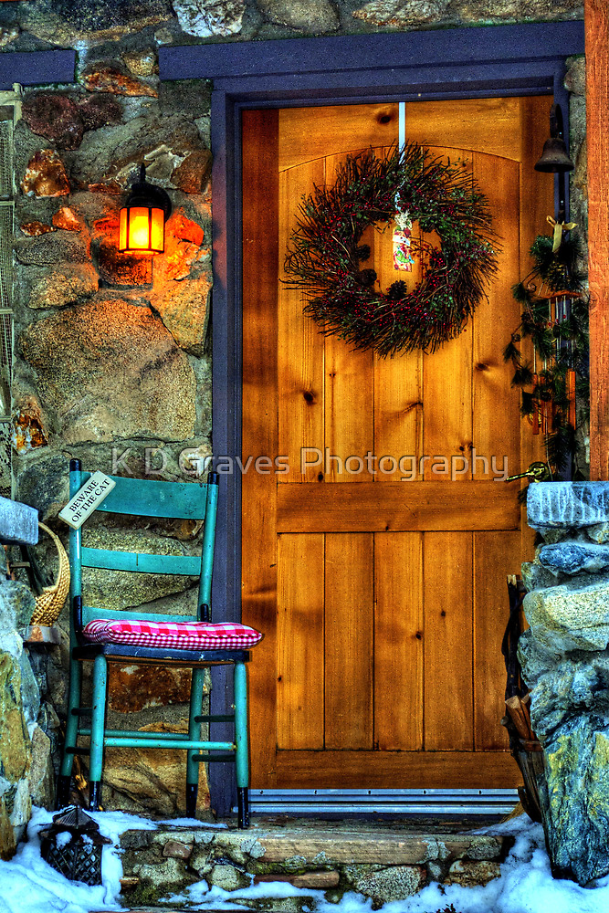 Country Cottage Door At Christmas by Diana Graves Photography