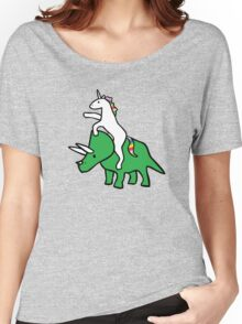 Unicorn Riding Triceratops Women's Relaxed Fit T-Shirt