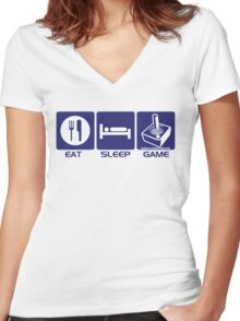 Eat Sleep Game Retro Women's Fitted V-Neck T-Shirt