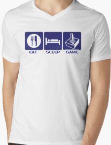 Eat Sleep Game Retro Mens V-Neck T-Shirt