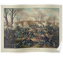 Civil War Battle of Fort Donelson February 16th 1862 by Kurz & Allison Poster