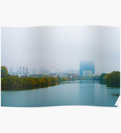 Indianapolis Skyline Foggy Poster