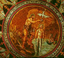 Baptism of Christ Neone Baptistry Ravenna Italy 198404150037 by Fred Mitchell