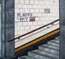 Subway - Platform 7 blank card by Pauline Bailey