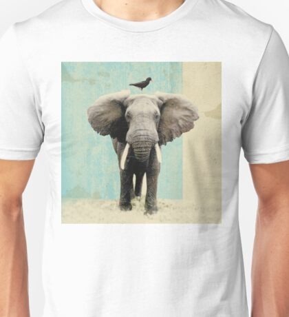 friends for life _ elephant and a black bird T-Shirt