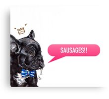 Frenchie Loves Sausages! Canvas Print