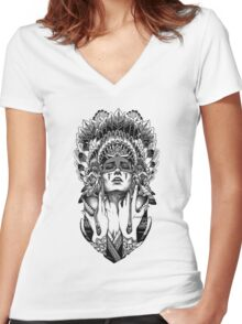 PORTRAIT001 Women's Fitted V-Neck T-Shirt