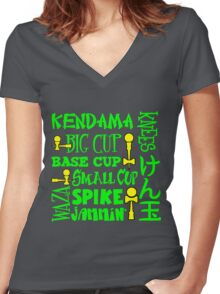 Kendama Word Block, neon green Women's Fitted V-Neck T-Shirt