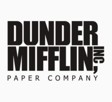 Dunder Mifflin Logo- B/W One Piece - Short Sleeve