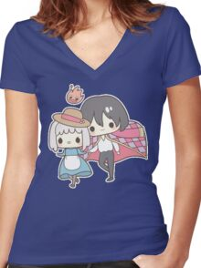 Howls Moving Castle - Studio Ghibli Women's Fitted V-Neck T-Shirt