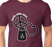 Peace-Love-Cups,b&w Unisex T-Shirt