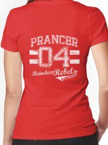 Prancer Reindeer Rebel Women's Fitted V-Neck T-Shirt