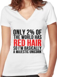 RED HAIR MAJESTIC UNICORN Women's Fitted V-Neck T-Shirt