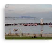 A warm evening & Blue Hour, Geelong Waterfront. Vic. Canvas Print