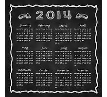 Year 2014 Blackboard Calendar Photographic Print