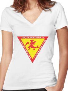 Mega Garchomp Warning Women's Fitted V-Neck T-Shirt