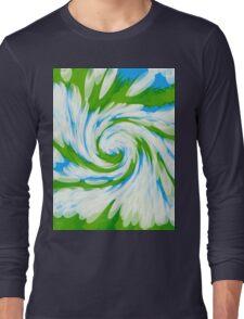 Groovy Green Blue Swirl Long Sleeve T-Shirt