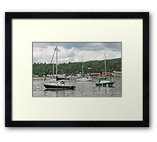 Sailboats In The Bay Framed Print
