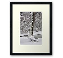 Snow Bench Framed Print
