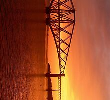 Forth Rail Bridge (Small) Orange Sunrise.   by LBMcNicoll