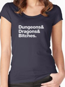 Dungeons & Dragons & Bitches (Helvetica) Women's Fitted Scoop T-Shirt