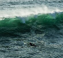Emerald California Surfing - La Jolla, San Diego, California by Georgia Mizuleva