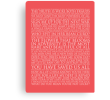 Mulan Block Quote Typography Print Canvas Print