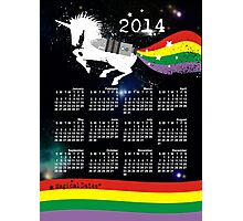 Grunge rainbow colors unicorn outer space calendar Photographic Print
