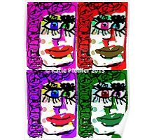 Four Faces Doodle Design Poster