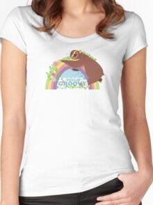 feelin groovy happy rainbow hippie sloth Women's Fitted Scoop T-Shirt