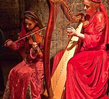 Ireland. County Clare. Knappogue Castle Medieval Banquet. Musicians. by vadim19