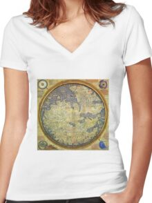 Antique Fra Mauro Map Asia Africa Europe Women's Fitted V-Neck T-Shirt