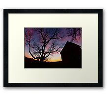 Barn and Tree at Sunset, Indiana Framed Print