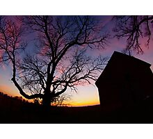 Barn and Tree at Sunset, Indiana Photographic Print