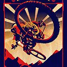 retro mountain bike poster: kick some gravity ass by SFDesignstudio