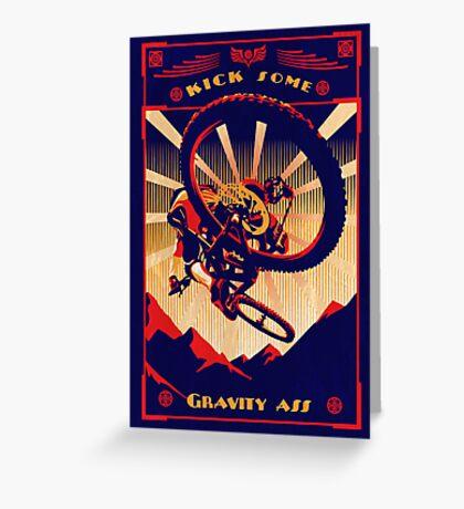 retro mountain bike poster: kick some gravity ass Greeting Card