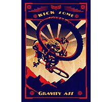 retro mountain bike poster: kick some gravity ass Photographic Print