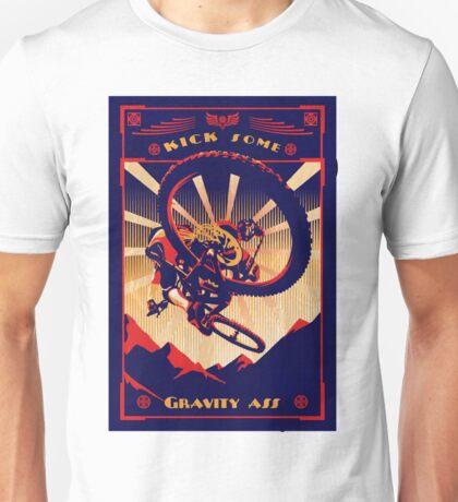 retro mountain bike poster: kick some gravity ass Unisex T-Shirt