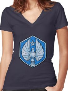 PPDC SHIELD SHIRT - BLUE Women's Fitted V-Neck T-Shirt