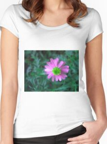 Pink flower on green Women's Fitted Scoop T-Shirt