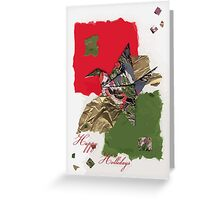 Holidays grey, green and red flapping bird Greeting Card