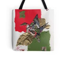 Holidays grey, green and red flapping bird Tote Bag